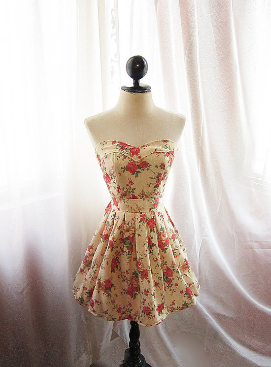 floral printed bridesmaid dress vintage inspired