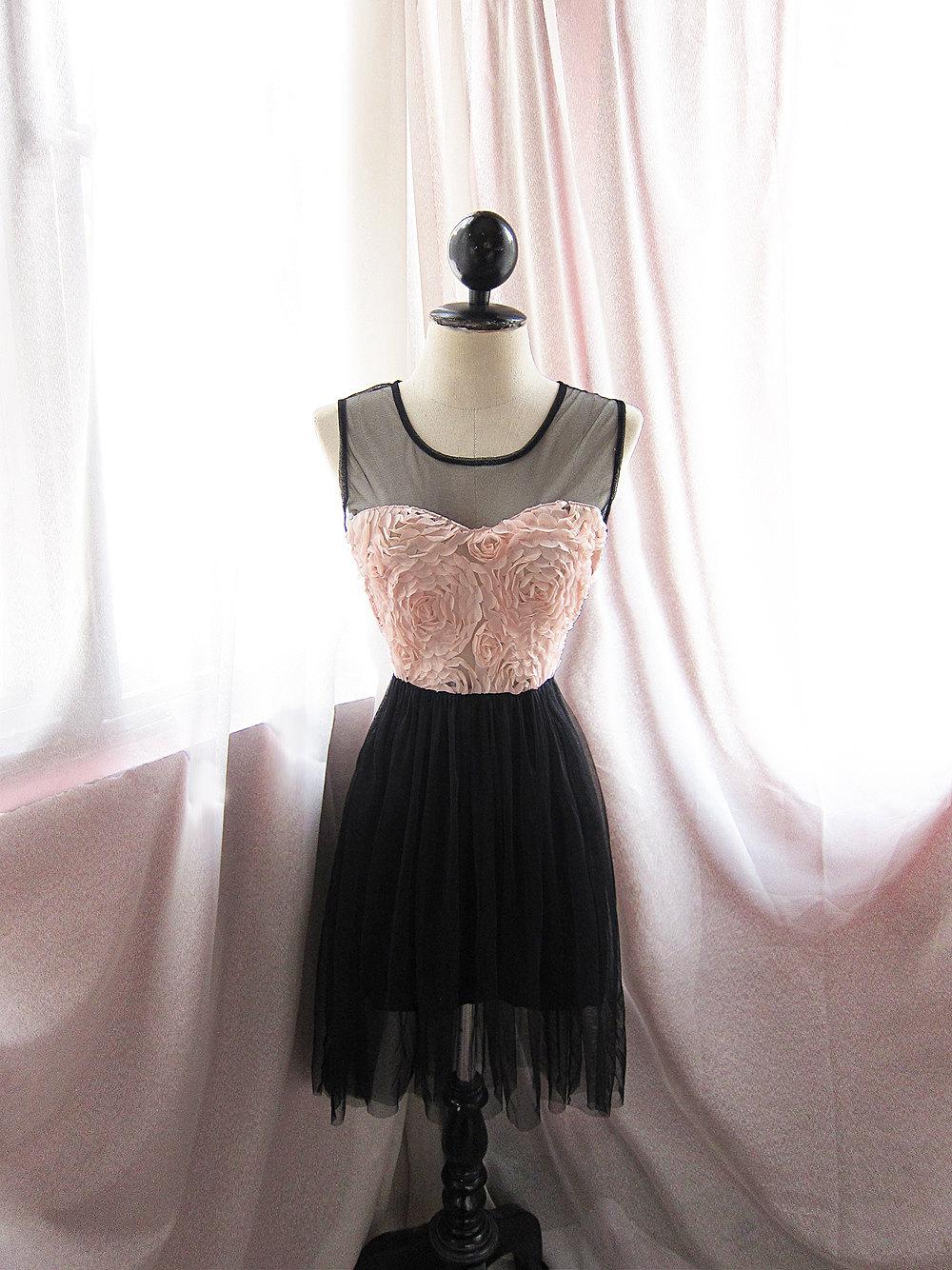 Pink-black-bridesmaid-dress-sheer-illusion-neckline.full