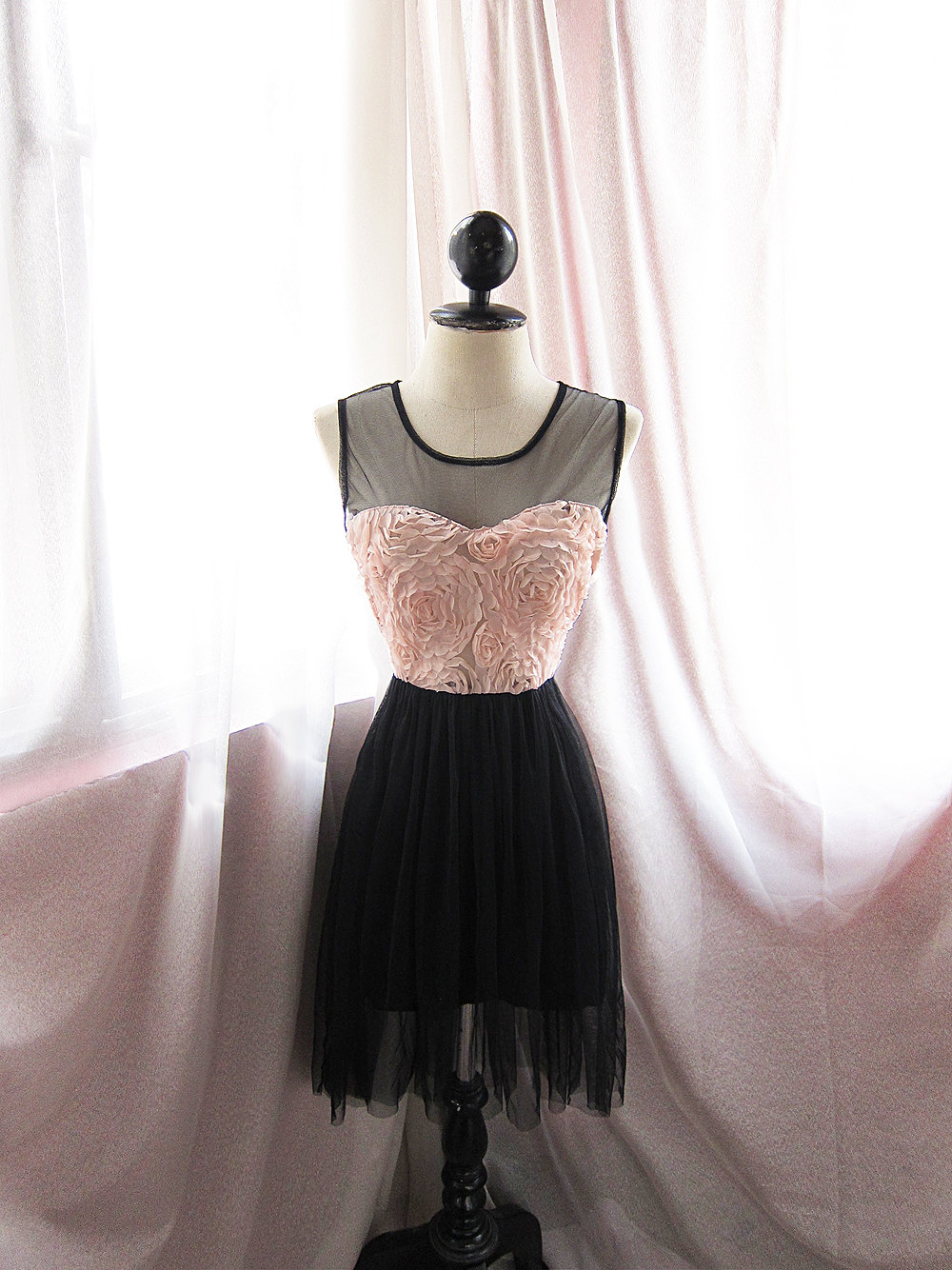 Pink-black-bridesmaid-dress-sheer-illusion-neckline.original