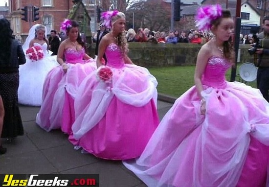 192c380cd7d ugly bridesmaid dresses pink poufs 2