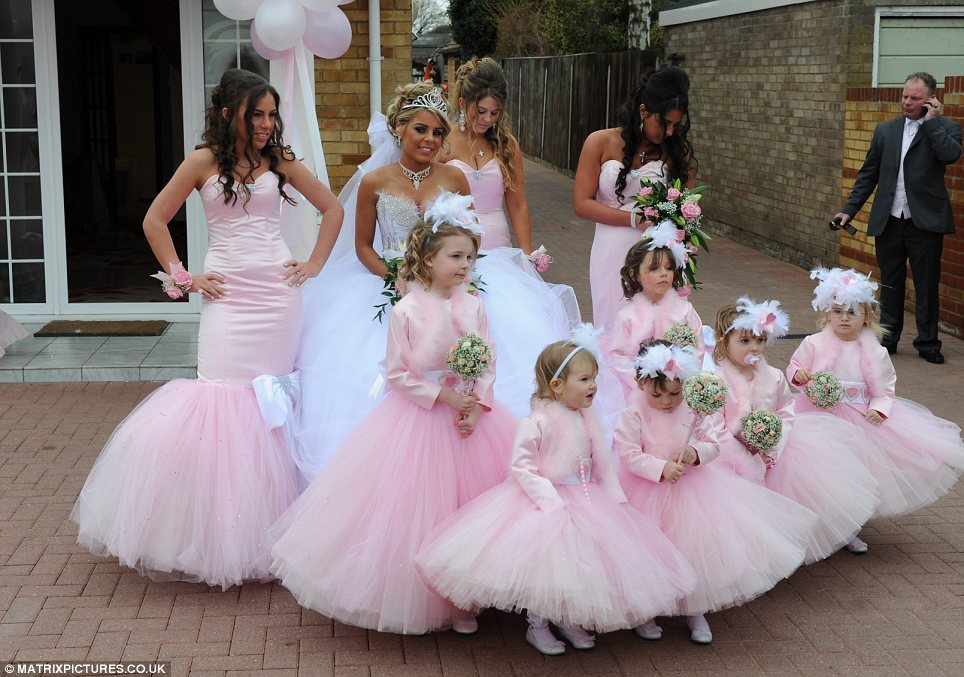 8fafead1d87 bad bridesmaid style ugly bridal party photos wedding fun swathed in pink