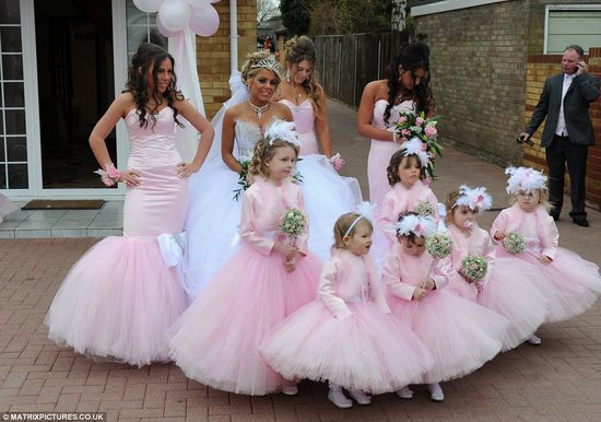 bad bridesmaid style ugly bridal party photos wedding fun swathed in pink