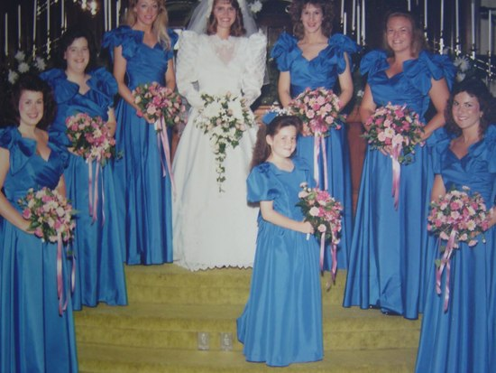bad bridesmaid style ugly bridal party photos wedding fun 80s blue