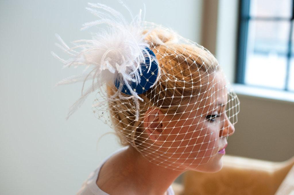 Something-blue-wedding-inspiration-bridal-style-spotting-fascinator-with-blusher.full
