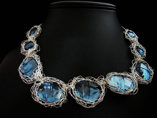 something blue wedding inspiration bridal style spotting statement necklace
