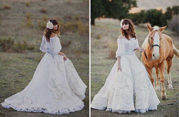 Romantic handmade wedding dress Spanish inspired