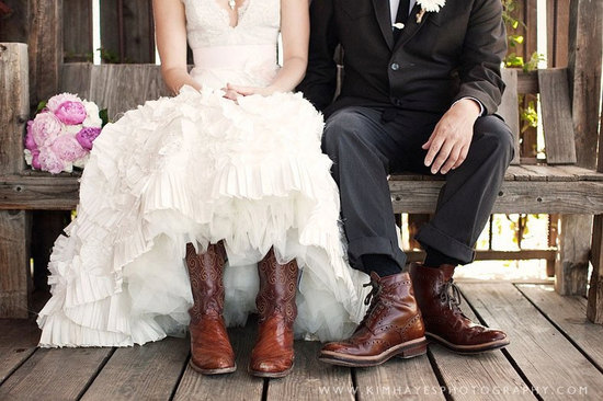 gorgeous Etsy wedding dresses handmade bridal gowns rustic elegance bride wears boots