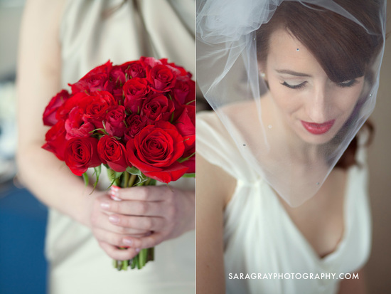photo of bridal beauty inspiration red lips wedding makeup red rose bouquet