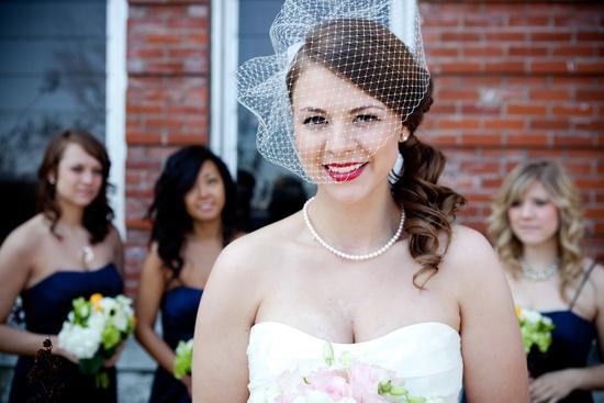 photo of bridal beauty inspiration red lips wedding makeup vintage bride