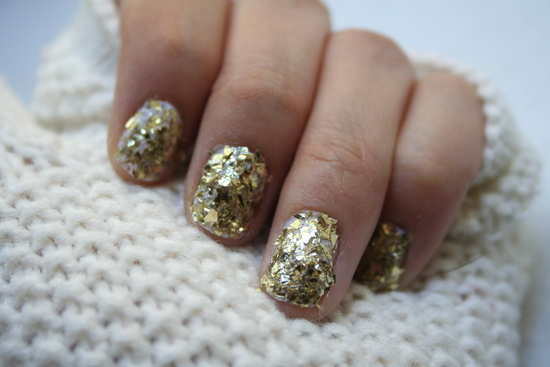 wedding day nails gilded gold bridal manicure
