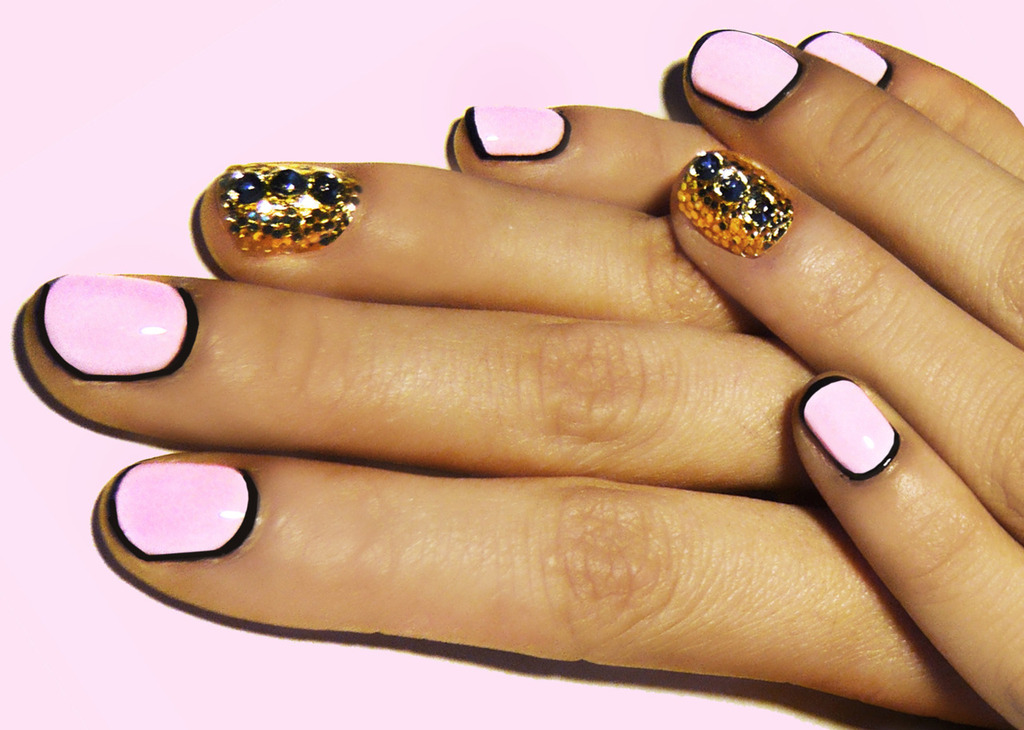 pretty wedding manicures light pink with gold black