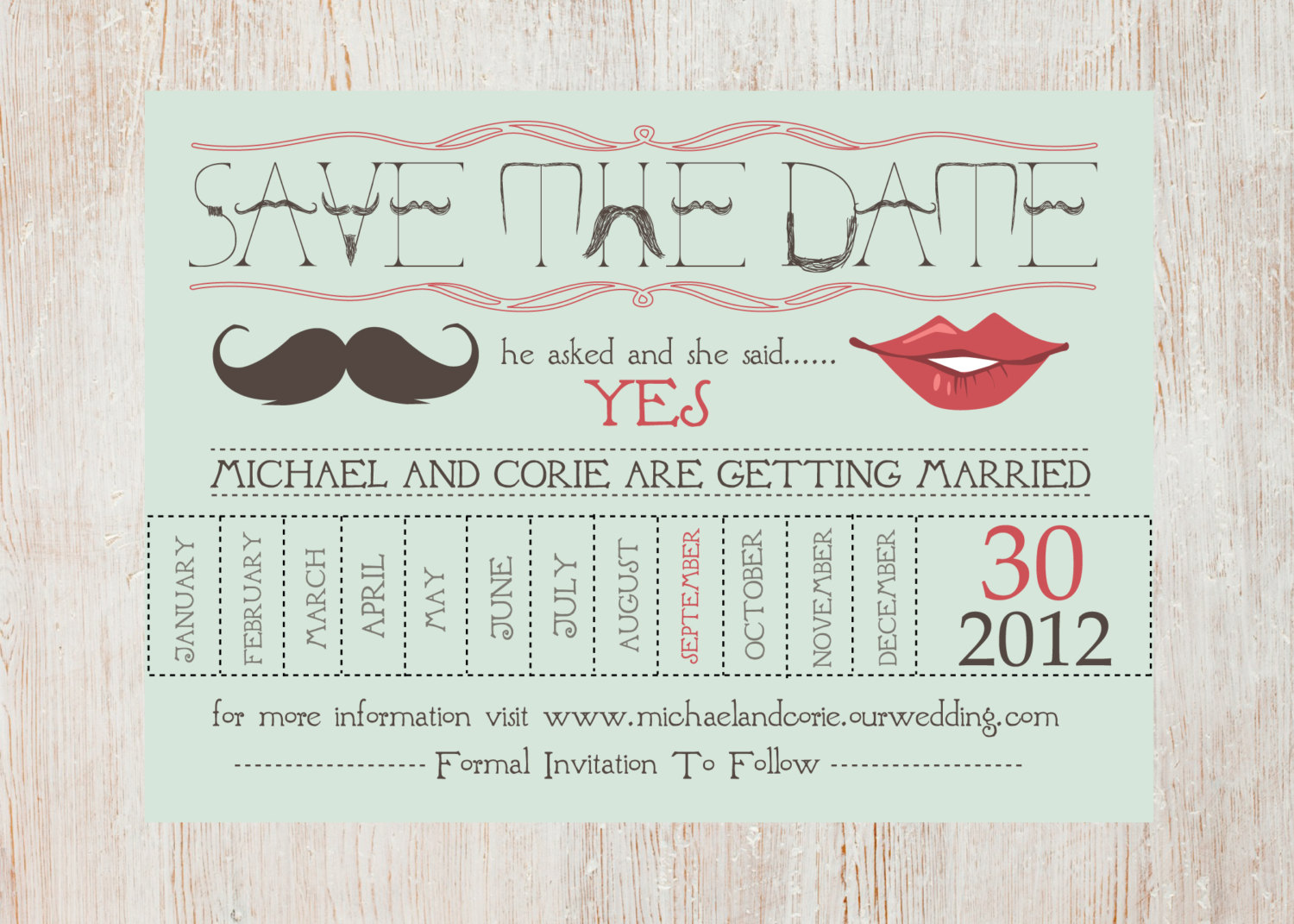 Calendar Ideas Reception : Fun wedding details for the reception mustache theme