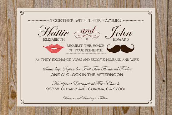 fun wedding details for the reception mustache theme wedding finds vintage invitation