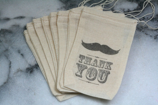 fun wedding details for the reception mustache theme wedding finds muslin favor bags