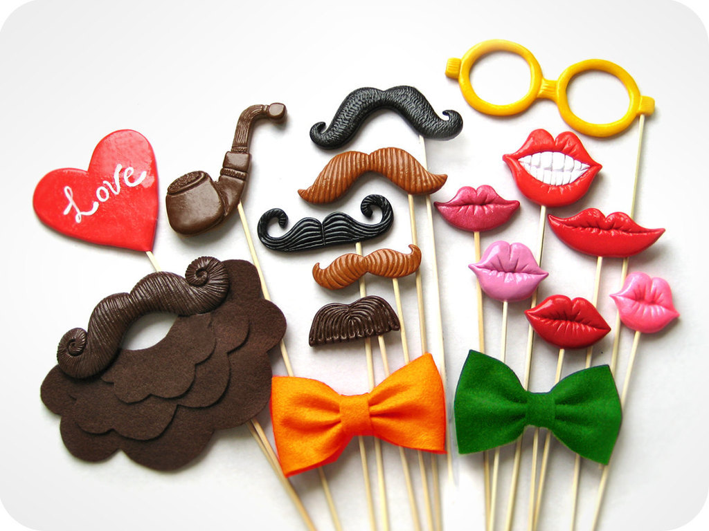 Fun Wedding Details For The Reception Mustache Theme Finds Colorful Photo Booth Props