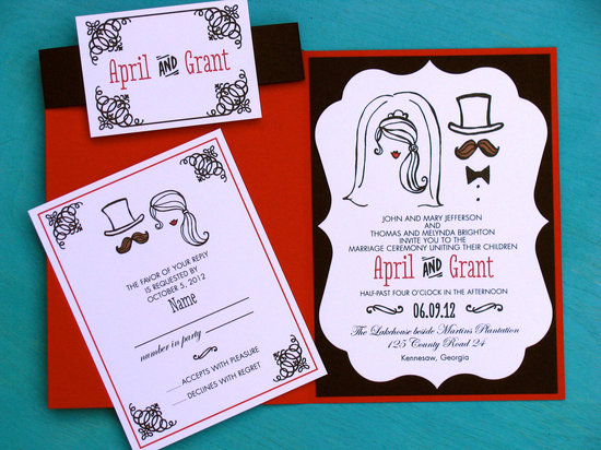 fun wedding details for the reception mustache theme wedding finds quirky invitation