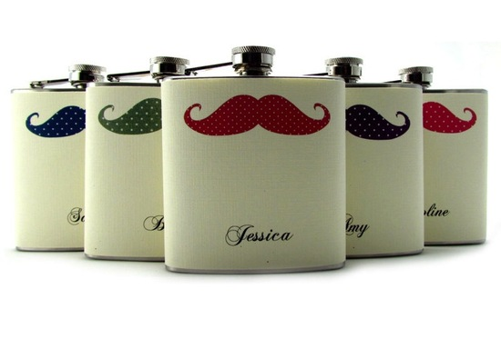 mustache flasks for groomsmen