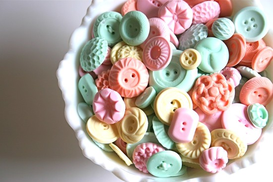 wedding sweets pastel candy buttons