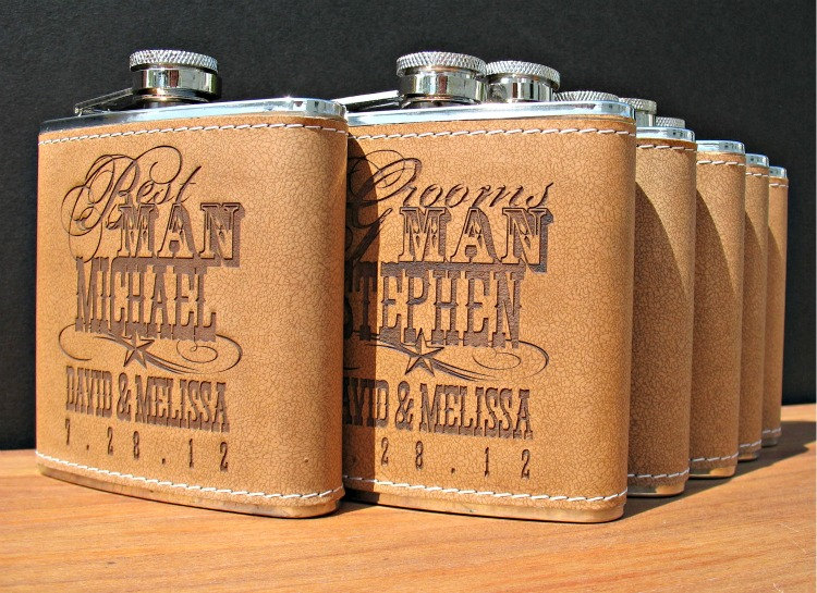 rad wedding gifts for groomsmen best man engraved flasks OneWed.com