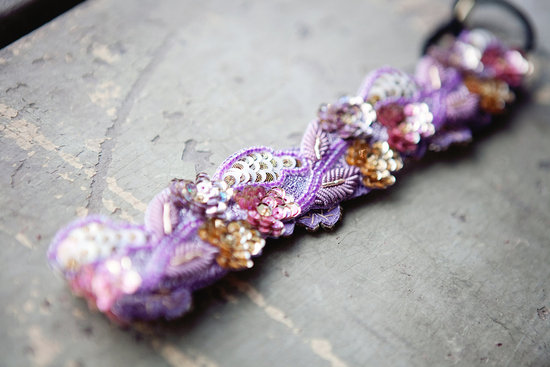 purple beaded bridal headbands
