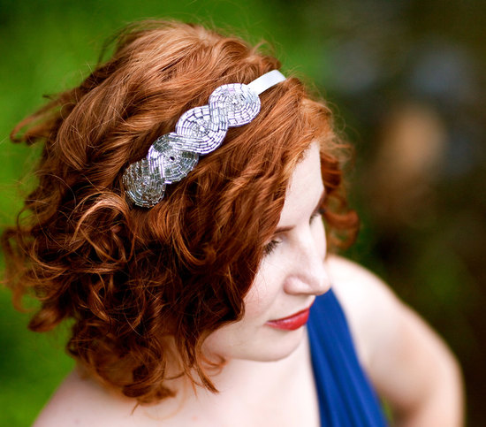 beaded bridal headband simple
