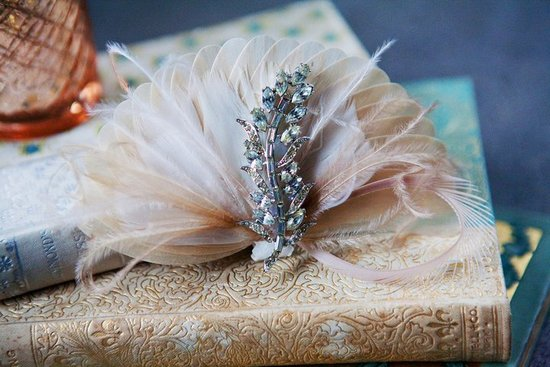 romantic wedding hair accessories blush feather fascinator