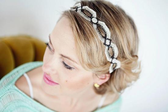 unique wedding headband white black retro