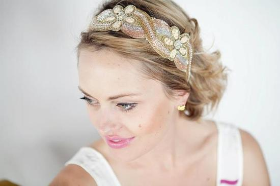 beaded bridal headband vintage inspired