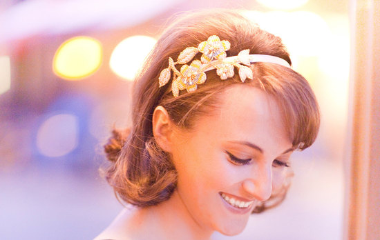 gold beaded wedding headband for vintage brides