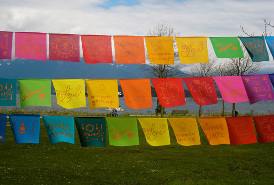 rainbow wedding inspiration bunting for outdoor wedding ceremony reception