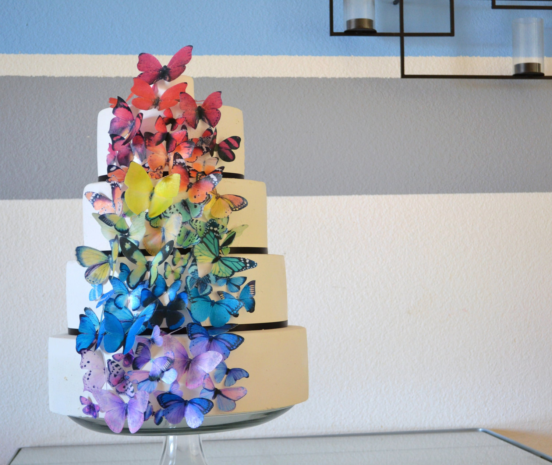 rainbow wedding inspiration edible butterflies on wedding ... Elegant Rainbow Wedding Cake