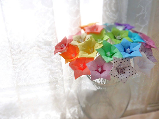 rainbow wedding inspiration paper flowers wedding centerpiece