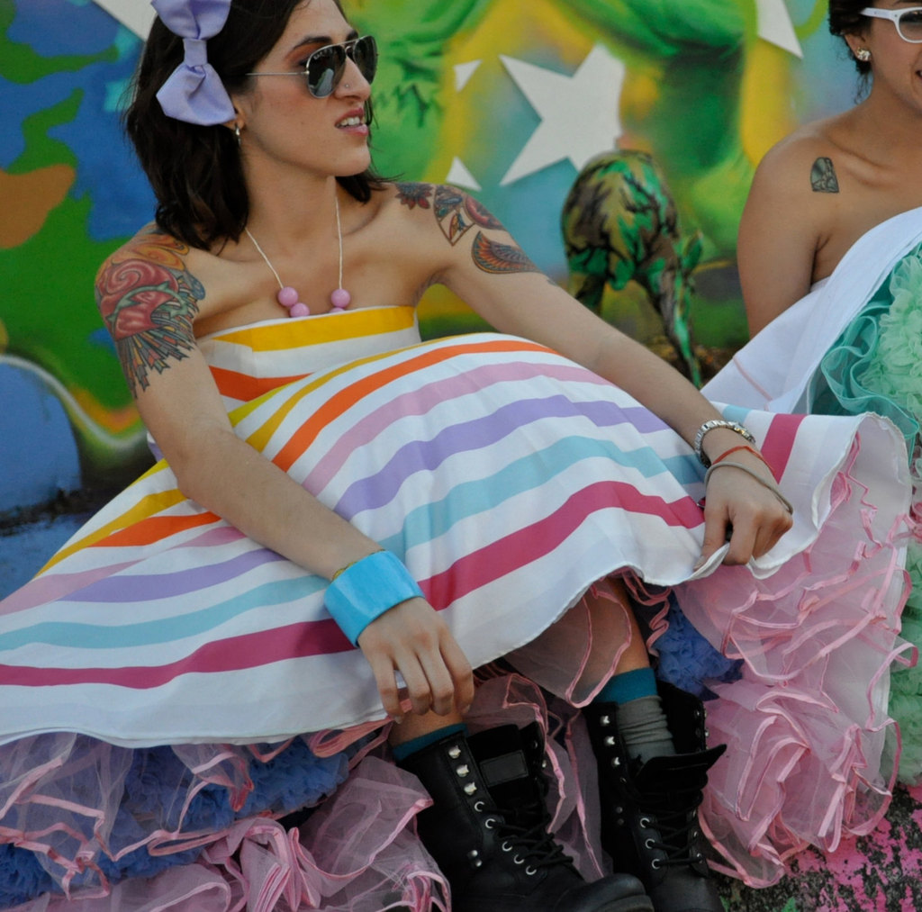 Rainbow-wedding-inspiration-offbeat-bridesmaid-with-tats.full