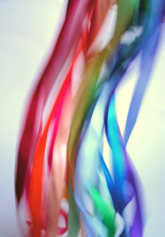 rainbow wedding inspiration ribbons