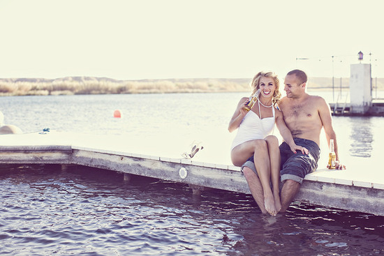 outdoor engagement session Marilyn Monroe bride to be poolside