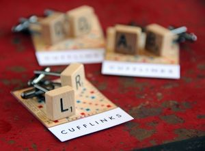 photo of scrabble wedding theme groomsmen cufflinks