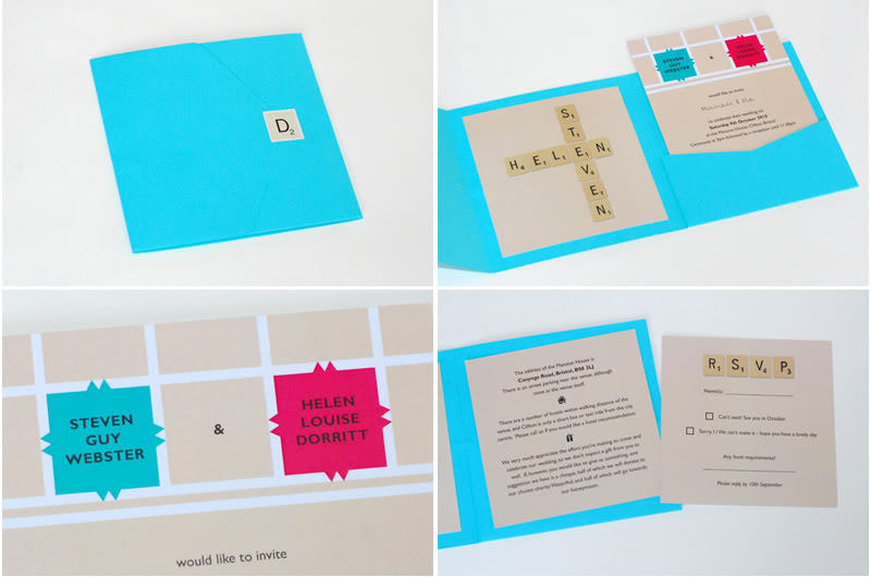 bright scrabble themed wedding invitation