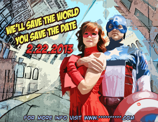 photo of funny wedding invitations superhero save the date