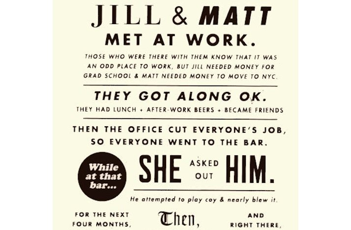 Love this! funny wedding invitations love story infographic 1 #Offbeat