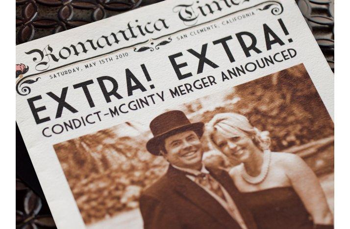 Funny Wedding Invitations Vintage Newspaper 1