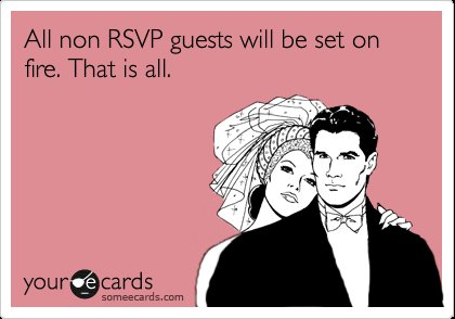 funny wedding sentiments RSVP