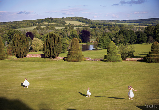 celebrity wedding in the English countryside flower girls