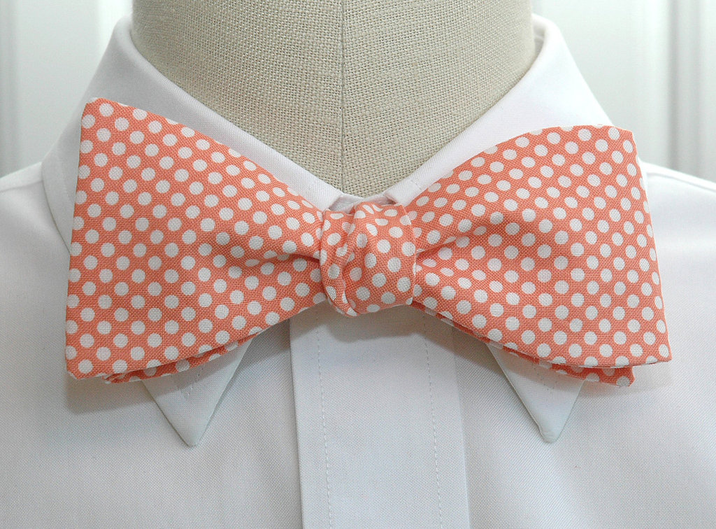 peach wedding pretties romantic inspiration Etsy weddings grooms bow tie