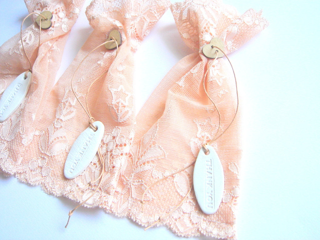 peach wedding pretties for romantic weddings lace favor bags