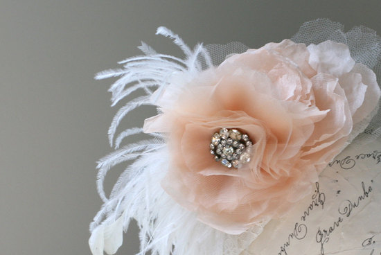 peach wedding pretties for romantic weddings feather flower fascinator