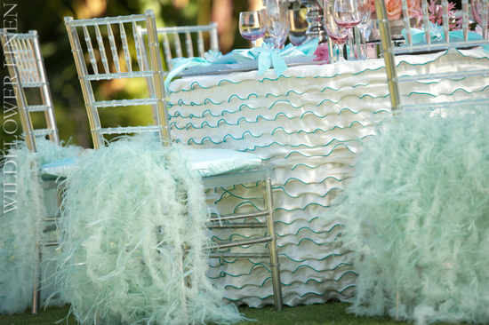 ruffle adorned wedding chairs draped chiavari beach wedding