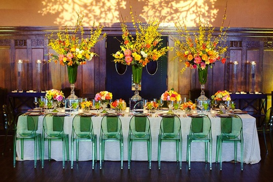 photo of lucite wedding chairs elegant reception green yellow spring