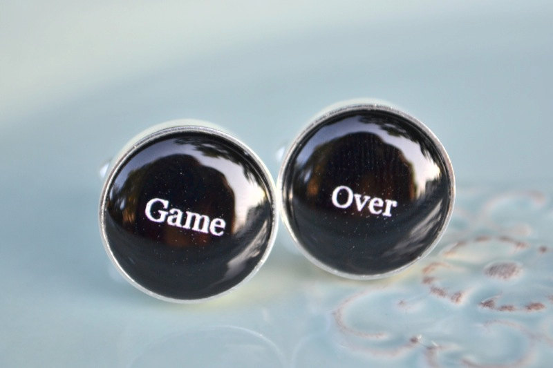 game over groom cufflinks
