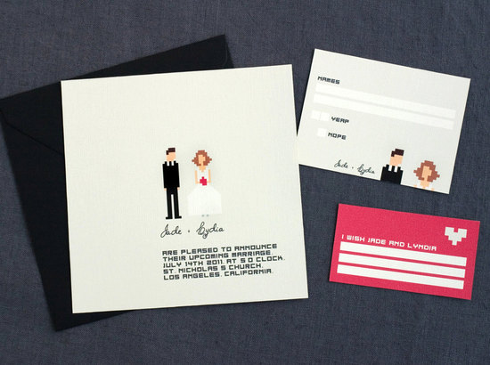 pixel wedding invitation black gray pink