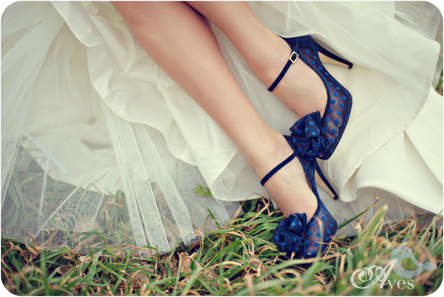 Navy blue polka dot wedding shoes by Kate Spade